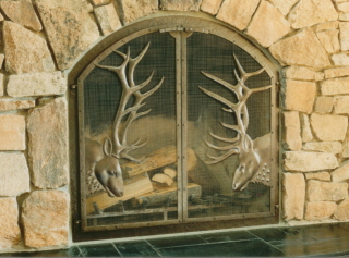 Elk Heads Fire Screen